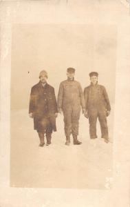 E28/ Occupational Real Photo RPPC Postcard c1910 Work Crew Winter Overalls 40