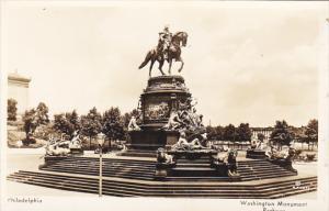 Washington Monument On Parkway Philadelphia Pennsylvania Real Photo