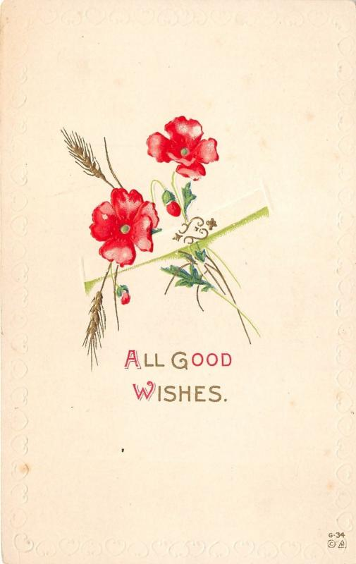 Good Wishes Greetings~Embossed Flowers~All Good Wishes~c1910 Postcard