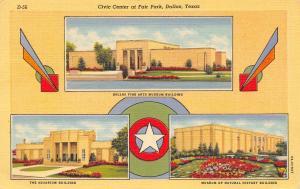 Dallas Texas~Fair Park Civic Center~Aquarium~Fine Arts Museum~Nat History~1939