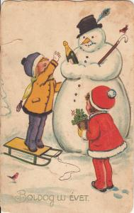 Early New Year greetings postcard children couple snowman cheers champagne