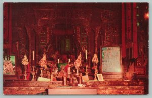 Weaverville California~Interior Of The Chinese Joss House~Vintage Postcard