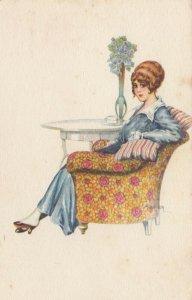 ART DECO ; BERTIGLIA ; Woman in Chair , 1910-30s