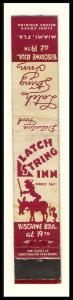 Miami, Florida/FL Mini-Matchcover, Latch String Inn/Biscayne