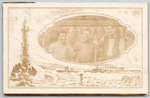 RPPC~3 Men w/ Rifles?~Stained Glass Window~Light House Mask~Steamship~c1910
