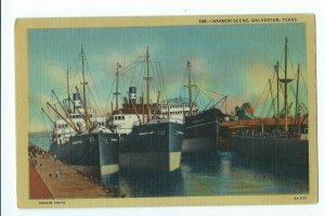 Postcard Harbor Scene Galveston Texas Berlin Photo Unposted VPC01.