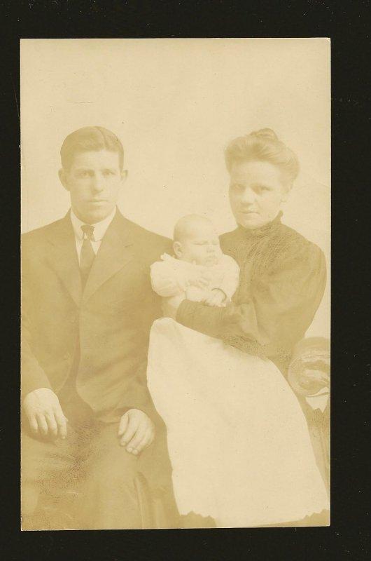 Vintage Portrait of Man Woman & Child Real Photo Postcard Unposted