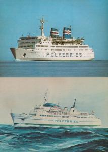 MS Rogalin Zegluga Baltycka Kolobrzeg 2x Poleferries Ship Polish Postcard s