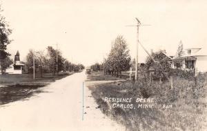 Carlos Minnesota~Residences~Houses on Dirt Road~Vintage Car~1920 Real Photo~RPPC