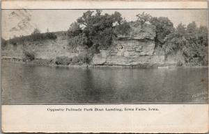 Iowa Falls Iowa~Opposite Palisade Park Boat Landing~1907 B&W Picture Post Card