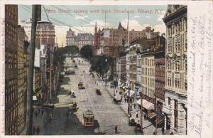 New York Albany Trolleys On State Street Looking West From Broadway 1909