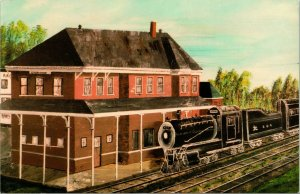 Vtg Postale Illinois Central Chemin de Fer Dépôt Cherokee Ia Luke Lucas Peinture