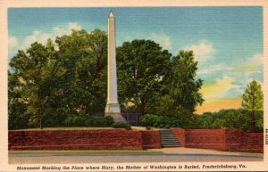Virginia Fredericksburg Monument Marking The Place Where Mary Mother Of Washi...