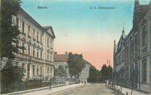 Poland Sanok C. k. Gimnazyum ulica postcard 1914