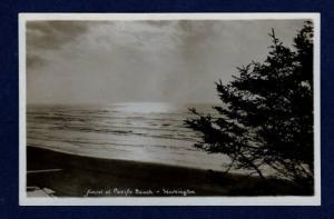 WA Sunset PACIFIC BEACH WASHINGTON State Postcard Real Photo RPPC
