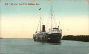 Steamship Ship SS Alberta Near Fort William ON c1910 Postcard
