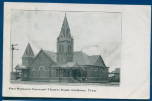 Childress Texas tx First Methodist Episcopal Church South litho postcard