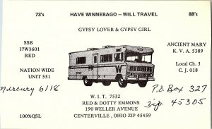 QSL Radio Card From Centerville Ohio