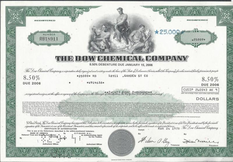 Dow Chemical Company $25000 Debenture Due Jan 2006, Stock...