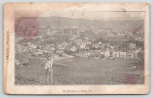 Man Points to Schuylkill Haven Pennsylvania Over Railroad Tracks~Churches~c1905