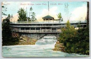 Duluth Minnesota~Lester Park~Rustic Lattice Bridge over Waterfall~1909 Postcard
