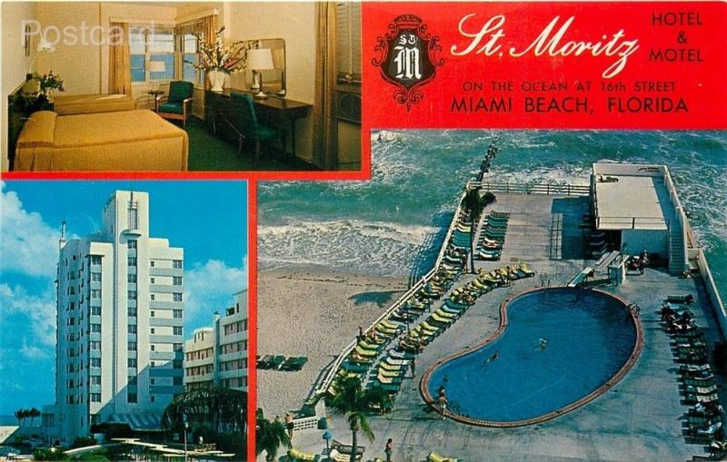 Fl Miami Beach Florida St Moritz Hotel Motel Pan American Color