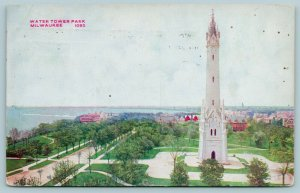 Milwaukee WI~Closeup of Historic Water Tower~Lake Michigan to the East c1910 PC