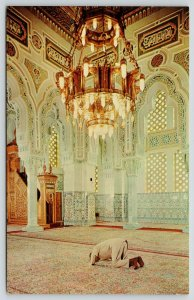 Washington DC~Islamic Center Interior~Single Man in Ornate Room~Chandelier~1960s