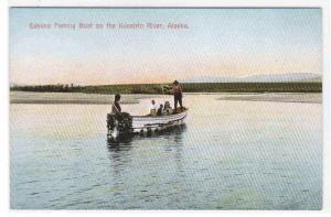 Eskimo Fishing Boat Kusatrin River Alaska 1910c postcard
