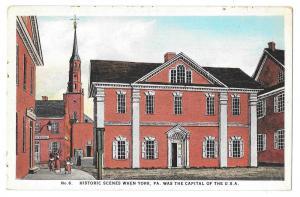 York PA Historic Scene No. 6 State House Vintage Postcard