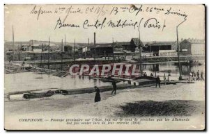 Old Postcard Compiegne provisional Passage of I & # 39Oise done on the barge ...