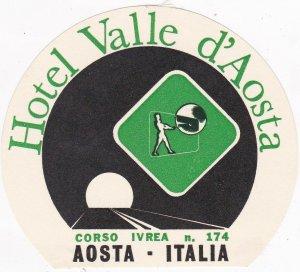 Italy Aosta Hotel Valle d'Aosta Vintage Luggage Label sk3373
