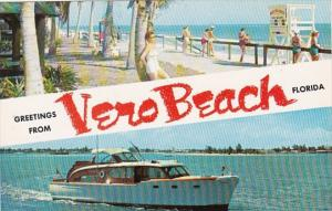 Florida Greetings From Vero Beach Showing Beach and Motor Yacht