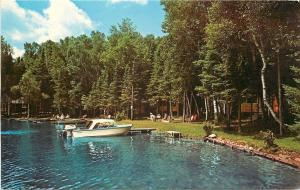Land O' Lakes Wisconsin~Jung's Modern Cabins on High Lake~Motorboat~Dock~1960s