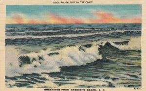 CRESCENT BEACH, South Carolina, 1930-40s; Greetings, Rough Surf on the Coast