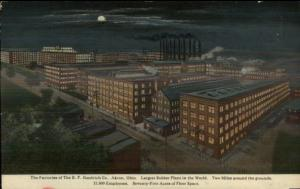 Akron OH  BF Goodrich Co Rubber Plant at Night c1910 Postcard
