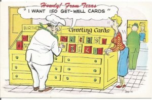 Texas Souvenir Chef Buying 150 Get Well Cards Funny Vintage Postcard