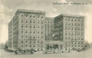 Burlington Hotel Washington, DC 1934 Black & White Postcard