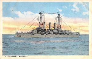 U. S.  Battleship Nebraska, White Border,  Old Postcard