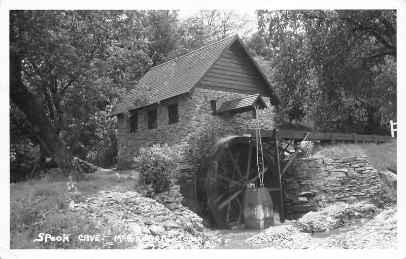 McGregor Iowa~Mill and Water Wheel Closeup at Spook Cave RPPC c1950