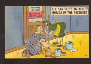 WOMEN JANITOR HANDS OF THE RECEIVER VINTAGE COMIC POSTCARD FAT WOMAN