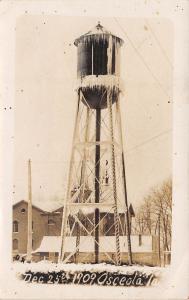 Osceola IA 1909 Christmas Day Snow Covers Water Tower~Church Behind~RPPC