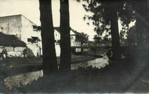 indonesia, JAVA SURAKARTA SOLO, Partial View with Bridge (1930s) RPPC Postcard