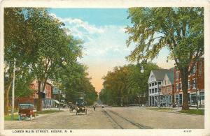 Keene New Hampshire~Lower Main Street~Vintage Autos~Shops~Trolley Tracks~1927 PC