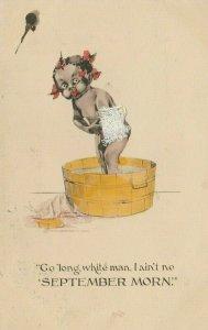 Black Americana Comic~Lil Girl in Wash Tub~Ain't No September Morn!~Towel Add On