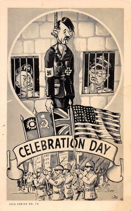 Celebration Day End of WW2 Military Hitler Macabre Comic Vintage Postcard AA402