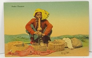 Snake Charmer Vintage Postcard