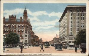 Macon GA Cherry St. c1920 Postcard