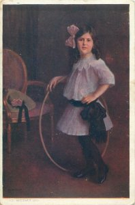 Postcard Ad. Wiesner Portrait of a girl wtih rose butterfly 1911