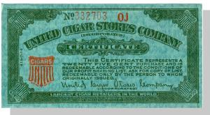 Vintage United Cigar Stores Company Certificate, 1960's?